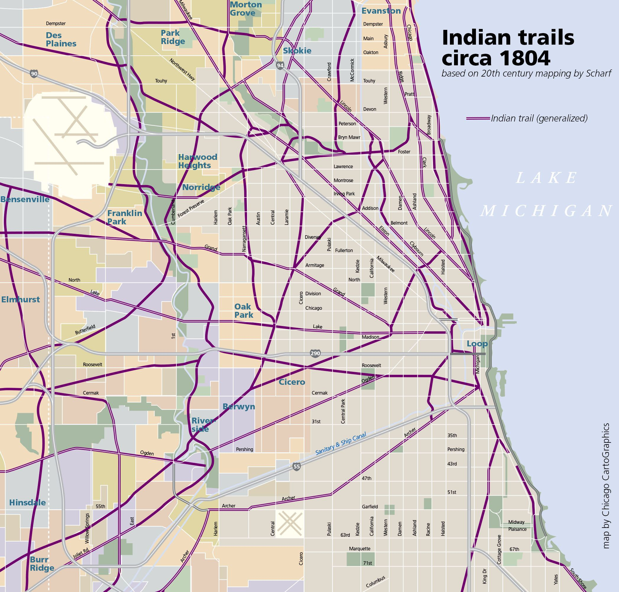 1805 Chicago area Indian Trails map