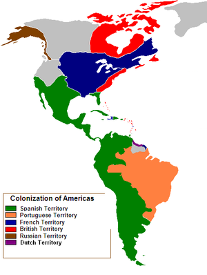 Map of the Colonization of North America in 1750