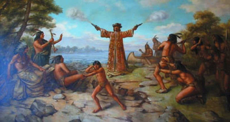 Jean Nicolet landing near Green Bay in 1634