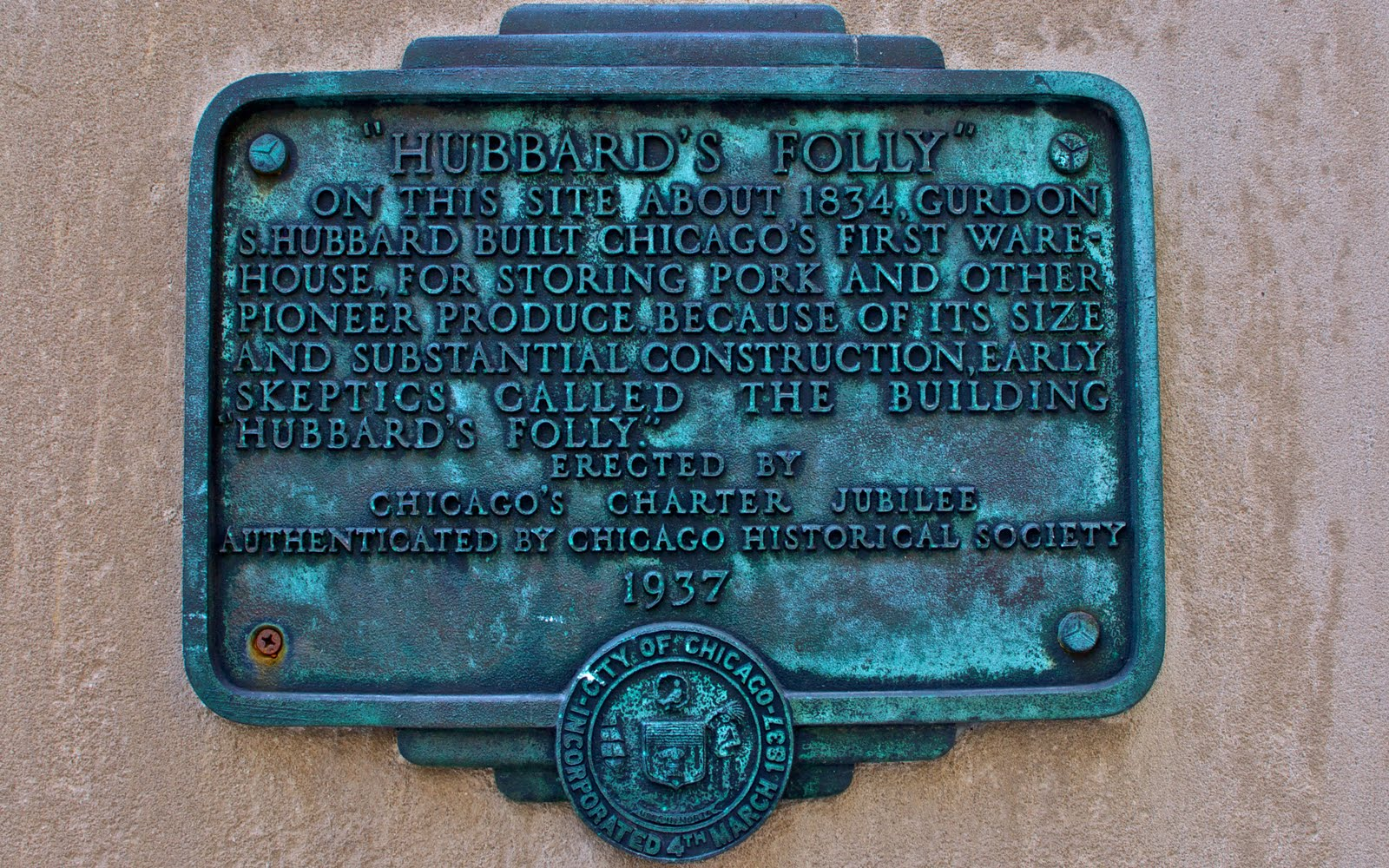 Hubbard's Folly plaque