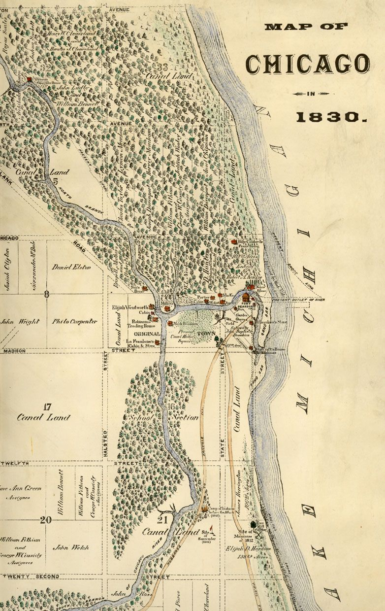 map of Chicago in 1830
